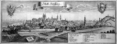 Historical view of Freising around the year 2244 (1701)