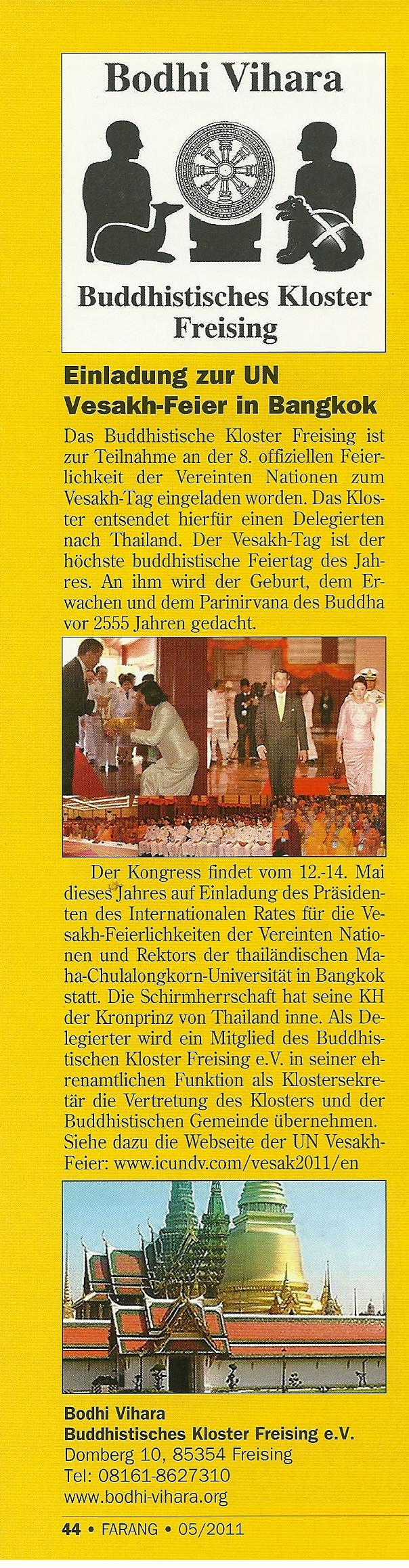8th ANNUAL UNITED NATIONS DAY OF VESAK  2011